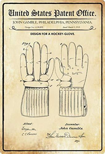 Metalen bord 20x30cm patent ontwerp hockey handschoen 1915 bord Tin Sign