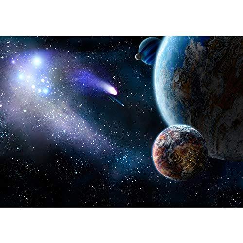 Vlies Fototapete 400x280 cm PREMIUM PLUS HiQ - OEKO-TEX Standard 100 Wand Foto Tapete Wand Bild Vliestapete - Erde Weltraum Planet Meteoriten Blau - no. 0232