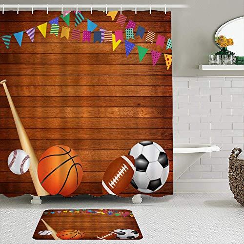 MIFSOIAVV Juego de Cortinas de Ducha de 2 Piezas con alfombras Antideslizantes Juegos de Mesa de Madera Antiguos Baloncesto