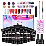 Kit Uñas de Gel, Abody Polygel Kit Gel de Extensión de Uñas, 10 Colors Uñas de Gel, con Base y Capa Superior, 6 Colores Brillos, 12 Nail Diamond, 100 False de Uñas