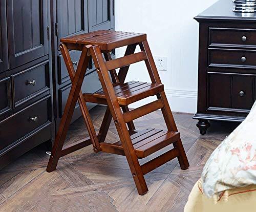 Opstapkruk van massief hout, inklapbaar, 3 treden, kruk voor trappen, multifunctioneel, kruk met greep, antislip, voor keuken, kruk, tuingereedschap, huishoudelijke apparaten 2 2