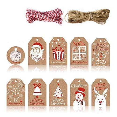 MHwan etiquetas de regalo de navidad con cuerda, etiquetas de regalo de navidad, Etiquetas de papel Kraft con hilo de algodón y hilo para decoración navideña de bricolaje, 100 piezas, 5x7,5 cm