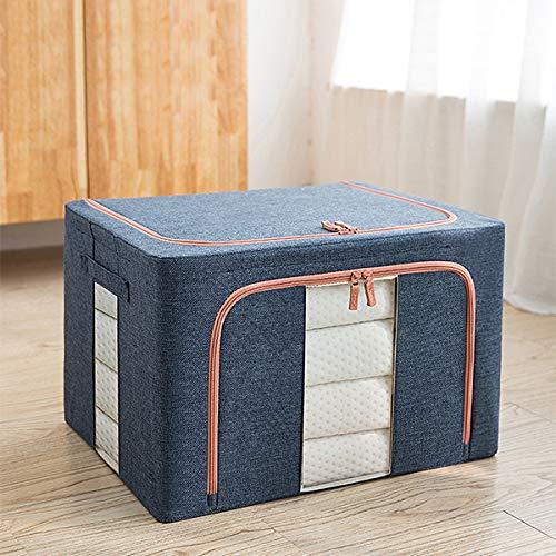KUGF Oxford Fabric Steel Frame Caja de almacenamiento de ropa de cama de gran capacidad con cremallera resistente, ventana transparente, multiusos, mango reforzado grueso Sto