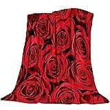 Flor Rosa roja Patrón Manta de Franela Plaid Suave Acogedora Mullida Cálida Mantas de Lujo la 100% Microfibra para Modernas Colcha Sofa Manta-180x240cm