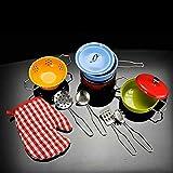 ZCOINS Children's Kitchen Play Set, Colourful Stainless Steel Play Pans Pots Kitchen Accessories Set,11pcs/Set Utensils for Kids