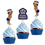 Little Prince Cupcake Cake Toppers - African American Royal Themed Baby Shower Birthday Party Decorations Supplies for Boy - 24 PCS