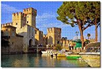 Amnogu イタリアスカリジェロ城シルミオーネジグソーパズル大人用子供1000個木製パズルゲームギフト用家の装飾特別な旅行のお土産
