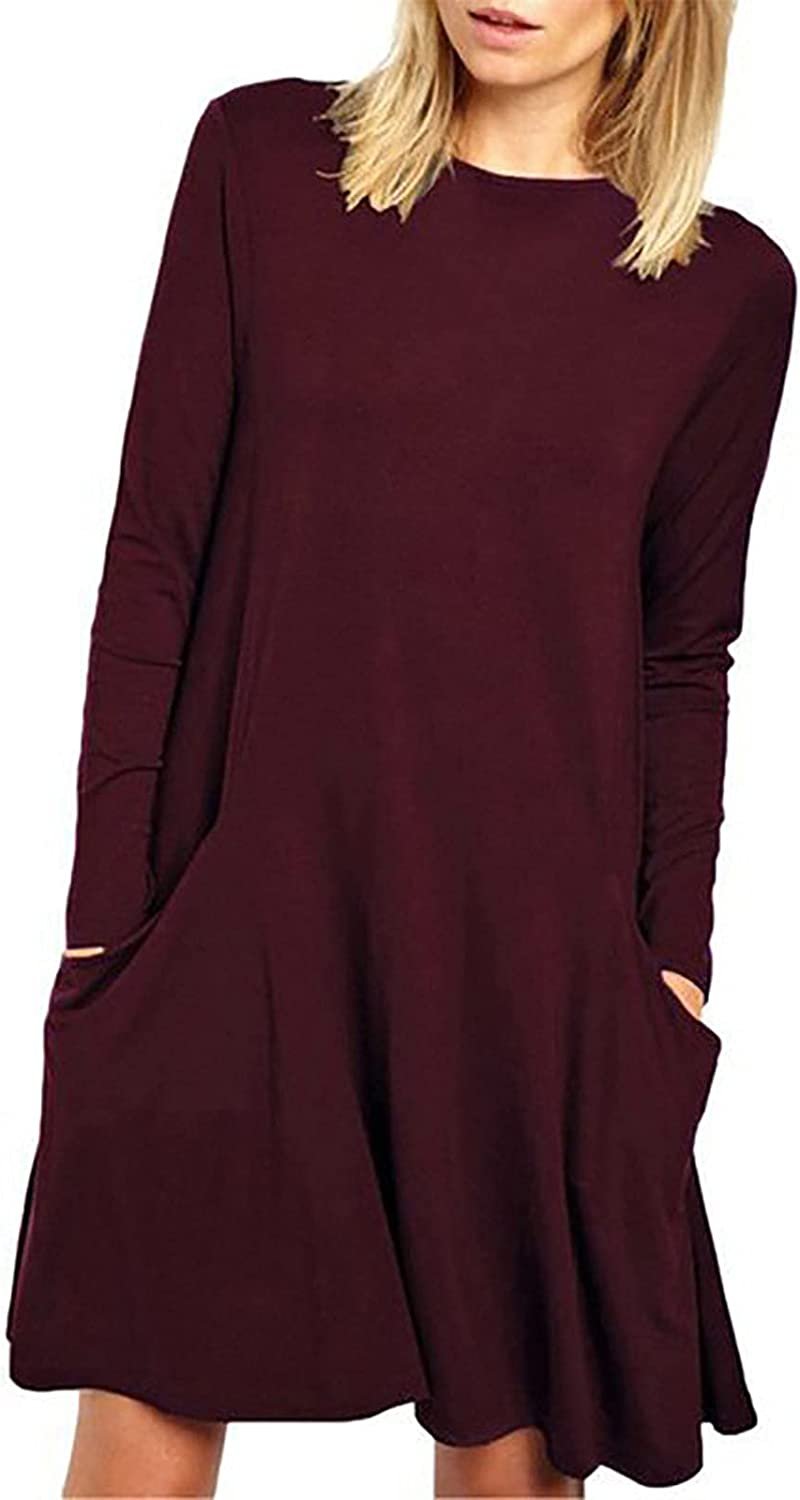 ESULOMP Womens Long Sleeves Tshirt Dress Solid Color Round Neck A-Line Casual Short Dress with Pocket