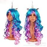 Peluca de unicornio con cuerno de unicornio y orejas – se adapta a niños, niñas, adolescentes y adultos con caja de regalo, multicolor