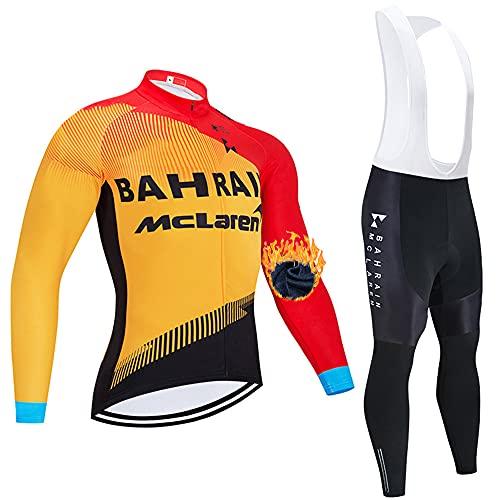 QPROX Abbigliamento da Ciclismo Invernale da Uomo, Abbigliamento da Ciclismo con Maniche Lunghe e Pantaloni con Bretelle, Pile Traspirante per Abbigliamento da Ciclismo per Mountain Bike
