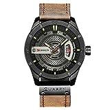 CURREN Men Quartz-Analog Watches Military Sport Black Wristwatch Leather Band (Black Brown)