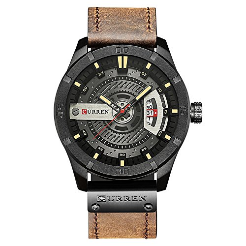 CURREN Men Quartz-Analog Watches Military Sport Black Wristwatch Leather Band (Black Brown)