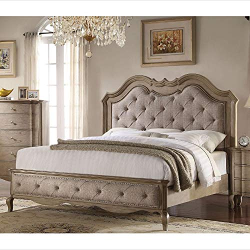 Wooden Frame Double Bed-Traditional Double Bed-Fabric Double Bed-for The Bedroom-Antique Taupe-Fashion Decoration Double Bed