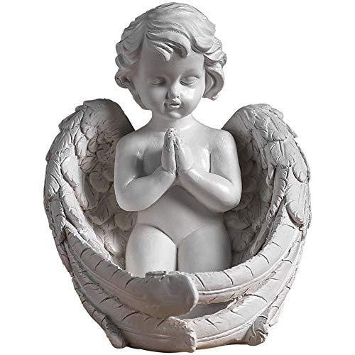 LIUSHI Praying Cherub Statue Pray for Peace Angel Figurine Indoor Outdoor Home Garden Wings Sculpture Memorial Craft Decor Gifts Church Ornament
