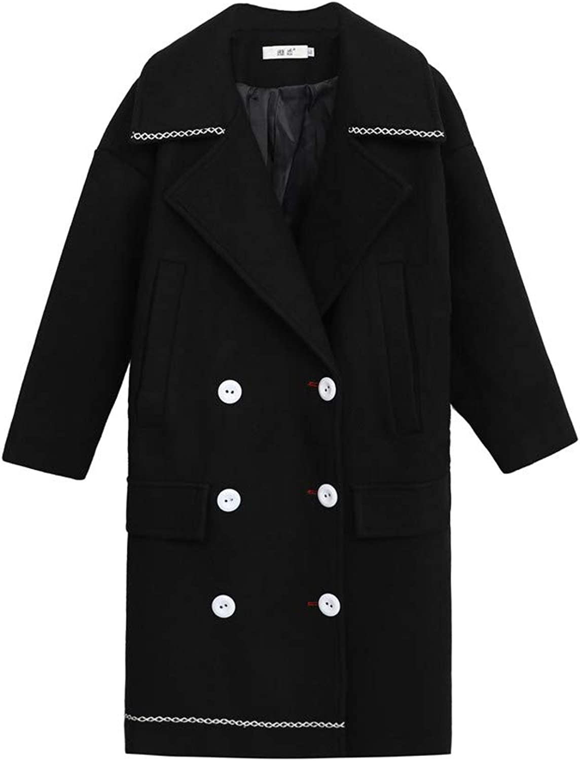 SOLAIGI Winter Womens Large Size Overcoat Lapel Double Breasted Long Coat Greatcoat Ladies Outerwear