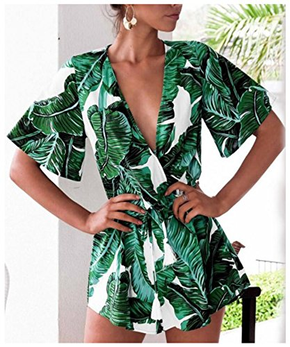 Odosalii Women's V Nec   k Floral Leaves Jumpsuit Tassel Elastic Waist Playsuit Loose Short Romper