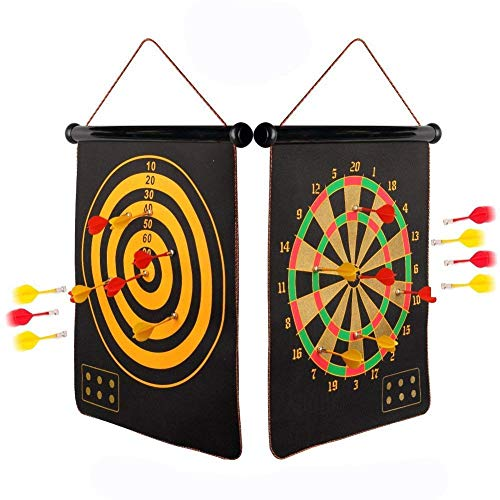 New Magnetic Dart Board with 6pcs Dart Flights for Kids and Adults, Double Sided Hanging Roll Up Dar...