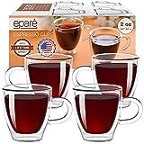 Tazas Eparé para espresso; juego de tacitas de vidrio con aislamiento (2 oz, 60 ml); taza...