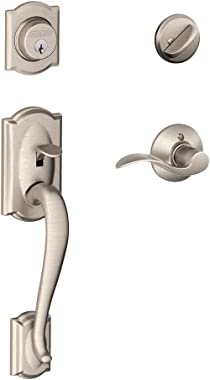 Schlage Camelot Single Cylinder Handleset and Accent Lever, Satin Nickel (F60 V CAM 619 ACC)