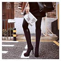 AFTWLKJ ブラックグレーの女性の群れスクエアハイヒールの膝のハイブーツファッションプラットホームジッパーブーツ秋冬女性シューズブラウンワインレッド (Color : Brown, Shoe Size : 10.5)