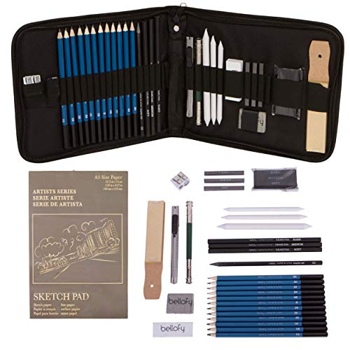 Bellofy Professional Drawing Kit Artist Drawing Supplies Kit | 33-piece Sketch Kit, Erasers, Kit Bag, Free Sketchpad | Perfect Graphite Drawing Pencil Set for Sketching | Art Pencils For Shading
