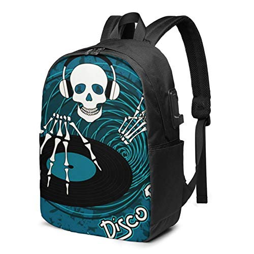 Laptop Backpack with USB Port Dance Music Dj Skull, Business Travel Bag, College School Computer Rucksack Bag for Men Women 17 Inch Laptop Notebook