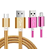 [2paxck]5 Ft Replacement micro USB Cable,CaseHQ powerline usb cord for Amazon Kindle, Kindle Touch, Kindle Fire,Kindle Keyboard,Kindle DX,HD, HDX,8.9',Kindle Paperwhite,Voyage,Echo Dot.etc-gold+Rose