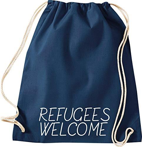 ShirtInStyle Gym Sack Turn-Beutel refugees welcome, Flüchtlinge, Bleiberecht, Farbe Blau