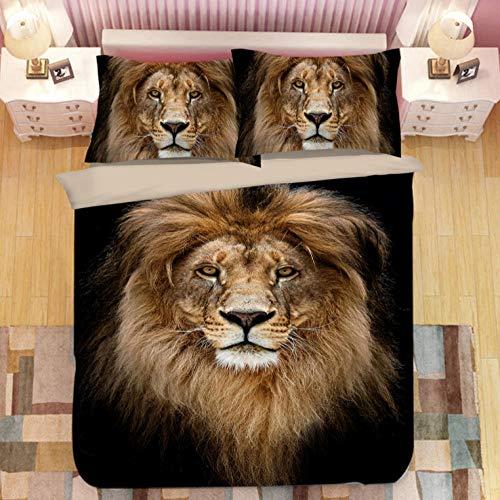 PANDAWDD Fundas Nórdicas 3D Cabeza De León Animal 3D/150X200cm 3 Piezas Funda De Edredón De Microfibra Suave Transpirable Incluye 1 Funda Nórdica Y 2 Funda De Almohada para Adolescentes Niñas Regalo