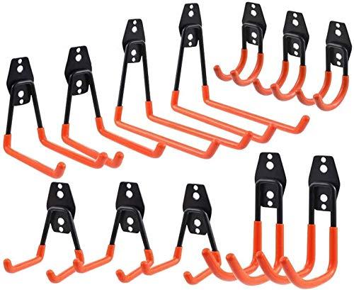 12 Stück Storage Hooks Garagenhaken Set Garage Storage Doppelhaken Multi Größe Wandhaken Schwerlast Eise Werkzeughalter Haken für Organisation von Elektrowerkzeugen Sperrigen Gegenständen (Orange)