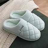 HUSHUI Men'S Comfort Memory Foam Slippers,Non-slip warm and velvet slippers, thick-soled couple cotton slippers-Light blue_38-39,Fluffy Memory Foam Slip On Slippers