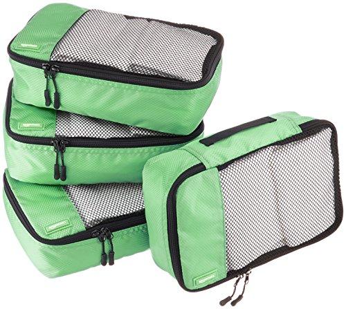 Amazon Basics - Bolsas de equipaje pequeñas (4 unidades), Verde