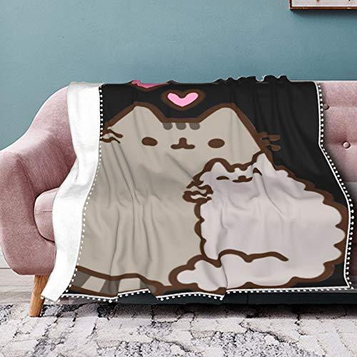 Pusheen Cat Cuadro Lon Überwurfdecke, digital bedruckt, ultraweich, Micro-Fleece-Decke, 127 x 101,6 cm