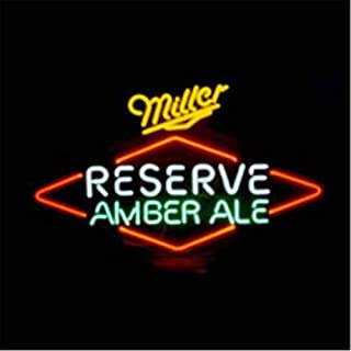 Neon Qiong Neon Sign Factory 17X14 Inches Real Glass Neon Sign Light for Beer Bar Pub Garage Room Miller Reserve Amber Ale.
