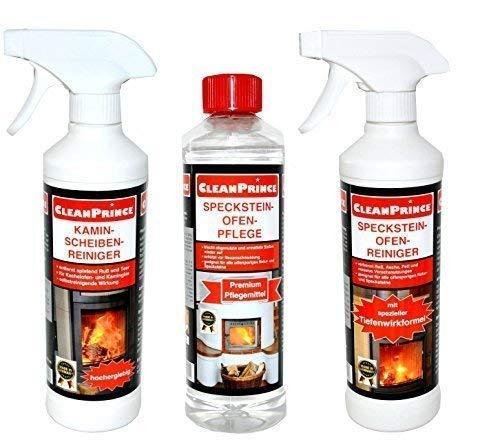 Cleanprince Pierre Ollaire Poêle Set Kaminscheiben-Reiniger Specksteinofen-Reiniger Specksteinofen-Pflege