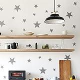 IDEAVINILO ÚNICO Vendedor Original - Walldeco - Estrellas de Tres tamaños. Color Gris. Medidas: 110x50cm