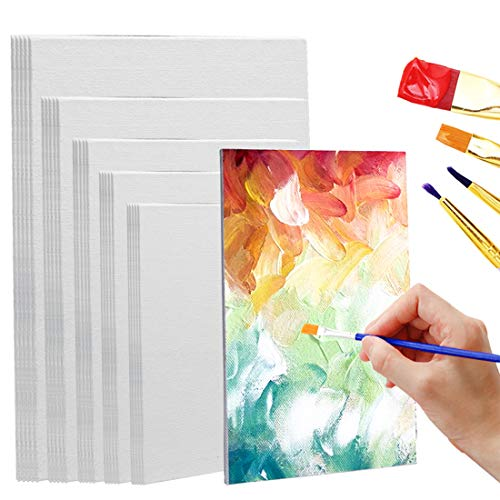 Set of 35 Painting Canvas Panels Multi-Pack Assorted Sizes, 4x6', 5x7', 8x10', 9x12', 11x14', 100% Cotton with Recycled Board Core, for Acrylic, Oil, Other Wet or Dry Art Media