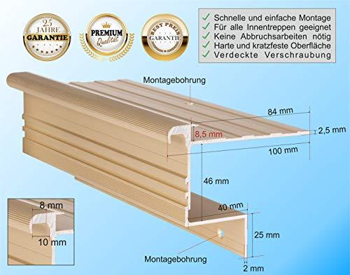 RenoProfil 80 cm Treppenprofil STABIL 8,5 für Laminat und Vinyl - Treppenkantenprofil für Treppenverkleidung und Treppenrenovierung - Farbe: Messing-Sand