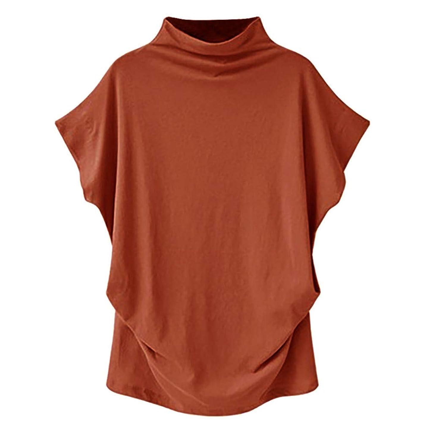〓COOlCCI〓Women Shirts Turtleneck Short Sleeve Cotton Blouse T Shirt Casual Loose Tunic Tops Loose Candy Colors Shirts