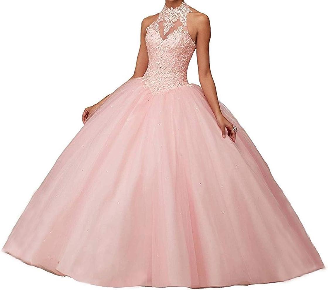 XUYUDITA Vestidos de Noche Quinceanera de Vestido de Baile Abierto de la Pelota de Mujer con Encaje de Perlas Vestidos de Noche