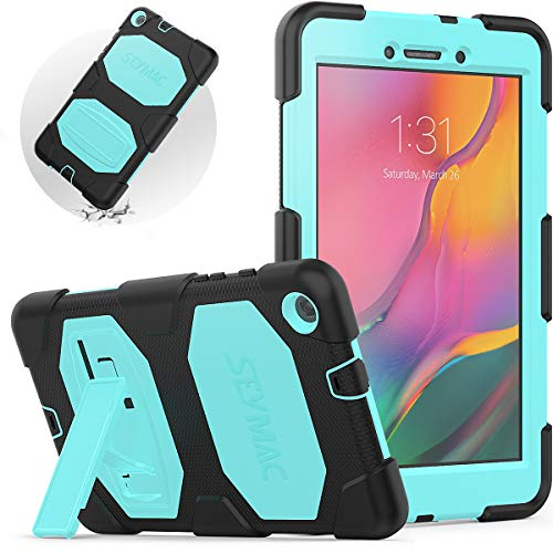 """SEYMAC Galaxy Tab A 8.0"""" Case(Only Fit SM-T290/T295 2019 Release) Three Layer Full Body Shockproof Protective Case with Stand,Durable Cover kids for Samsung Tab A 8 Inch 2019(Light Blue/Black)"""