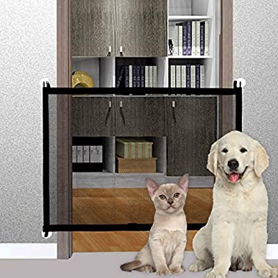 Pet Gate Baby Gate, LIUMY Indoor Outdoor Retractable Dog Gate, with Portable Folding Mesh Safety Gate, for The House Providing a Safe Enclosure to Play and Rest, Extends up to 40.4'' X 29.5