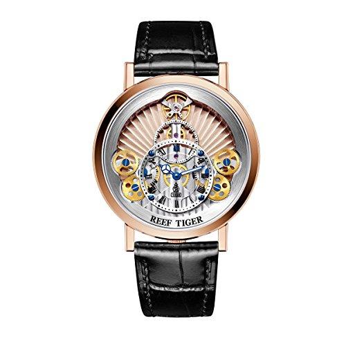 REEF TIGER Herren Uhr analog Automatik mit Leder Armband RGA1958-PPB