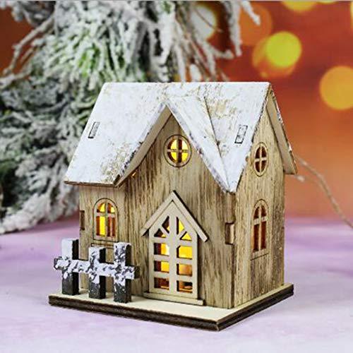 GoldPang LED Haus als Deko zu Weihnachten Kleines Holz-Haus mit LED Beleuchtung - Batteriebetriebene Weihnachtsdekoration Beleuchtete Weihnachtsdekoration