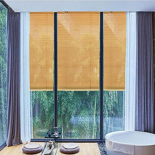 XIAOLIN Natürliche Lichtfilterung/Sonnenschirm/Wärmedämmung/Atmungsaktiv/Privatsphäre Bambus Rollen Sie Fenster, Römisches Schirm-Teehaus, Hof (Color : Clear, Size : 115x215cm/41.3
