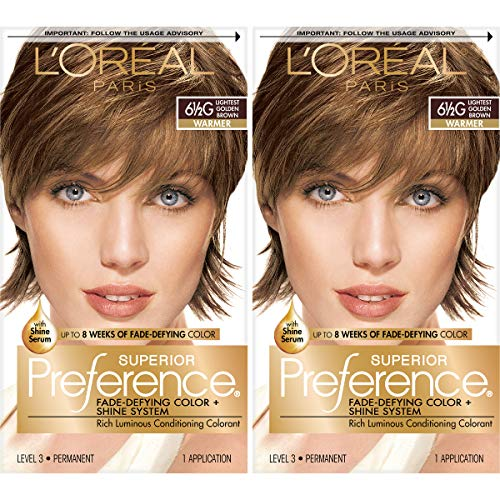 L'Oreal Paris Superior Preference Fade-Defying + Shine Permanent Hair Color, 6.5G Lightest Golden Brown, Pack of 2, Hair Dye