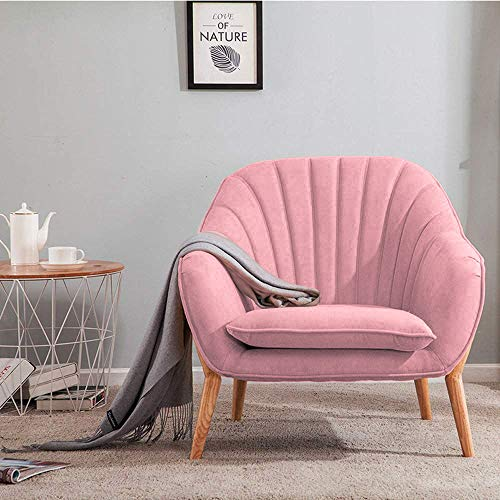 Wamiehomy Modern Suede Fabric Armchair Tub Occasional Chair with Solid Wood Legs for Living Room Bedroom Reception Contemporary (Pink)