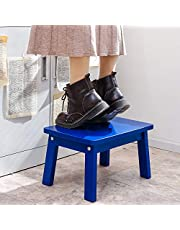 HOUCHICS Wooden Step Stool Stepping Foot Stool Water Resistant Household Toddler Square Footstool for Indoor Kitchen Bathroom with Safety Non-Slip Pads (Blue)
