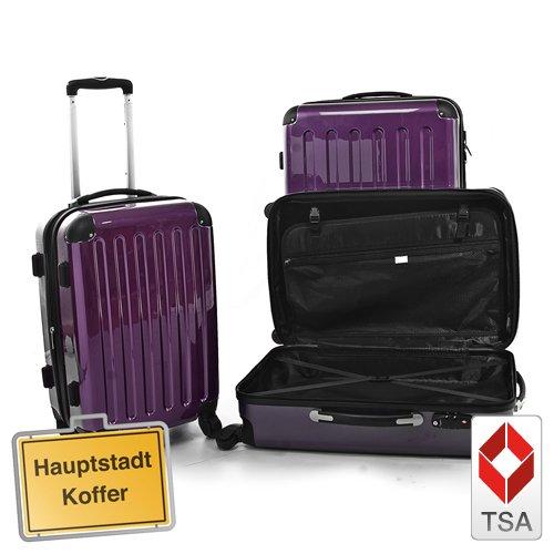 HAUPTSTADTKOFFER 3 valigia rigida 130L, 87L, 45L, lucido melanzana colore lucchetto TSA