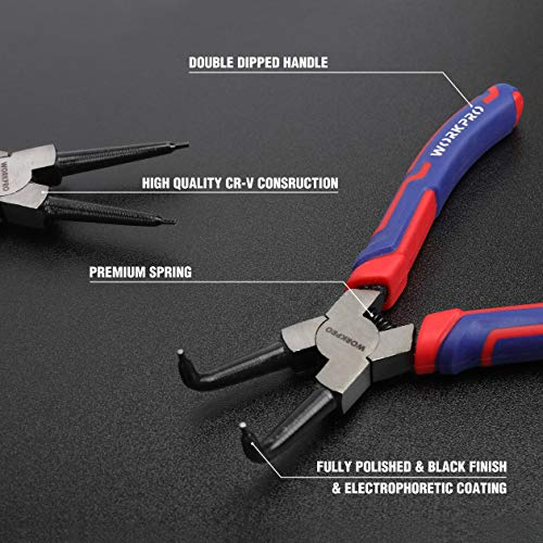 WORKPRO 4-piece Snap Ring Pliers Set - Heavy Duty 7-inch Internal/External Circlip Pliers Kit (Tip Diameter 5/64'')-Straight/Bent Jaw - Cr-V Steel - For Ring Remover Retaining- Storage Pouch Included